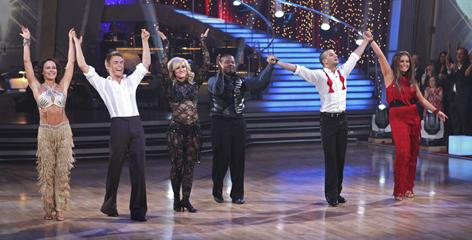 The final three teams take a curtain call. From left: Winners Jennifer Grey and Derek (Hough)Hough runners-up Lacey Schwimmer and Kyle (Massey)Massey and Mark Ballas and Bristol Palin, who finished third overall. Not bad for a girl who'd never danced before joining the show.
