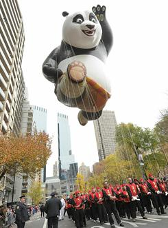 Po, the Kung Fu Panda balloon, makes his way through the streets of New York City during the 84th Annual Macy's Thanksgiving Day Parade.