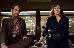 Carla Gugino stars opposite Billy Bob Thornton and Dwayne Johnson in Faster.