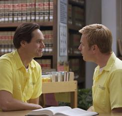 Jim Carrey, left, stars as Steven, who is in prison (and in love) with Phillip (Ewan McGregor). Steven spends a lot of time in the prison's  law library, trying to learn his way out of his legal mess.