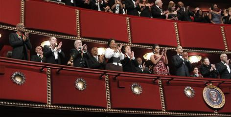 View from the balcony: Honorees Bill T. Jones, left, Jerry Herman, Merle Haggard, Oprah Winfrey and Paul McCartney get front-row seats with Michelle Obama, President Obama, Alma Powell and her husband, former secretary of State Colin Powell.