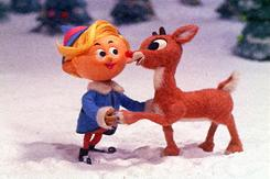 Rudolph the Red-Nosed Reindeer with his friend Hermey, who has very un-elf-like career aspirations.The much-loved TV special, featuring narration by Burl Ives, first aired in 1964.