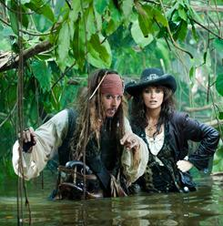"A ""love-hate thing"": Captain Jack (Johnny Depp) gets tangled up again with his ex Angelica (Penelope Cruz) in Pirates of the Caribbean: On Stranger Tides, which arrives May 20."