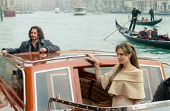 Angelina Jolie plays a mysterious woman in Venice and Johnny Depp is her mark in the romantic thriller, which opens Friday.