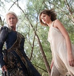 Prospera (Helen Mirren) rules this remote island, alongside her daughter Miranda (Felicity Jones).