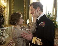 Colin Firth, as King George VI, and Helena Bonham Carter, as The Queen Mother, in a scene from The King's Speech.