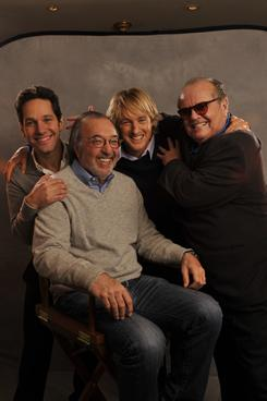 Behind the scenes: Paul Rudd, left, director James L. Brooks, Owen Wilson and Jack Nicholson are the talent behind How Do You Know, opening Friday.