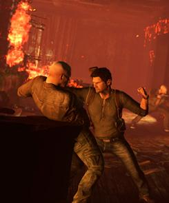 Uncharted 3: Drake's Deception: Game hero Nathan Drake, in the foreground with black hair, tries to escape from a chateau that has burst into flames.