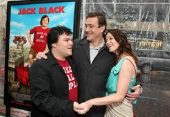 Jack Black, Jason Segel and Emily Blunt catch up at the Saturday premiere of Gulliver's Travels.