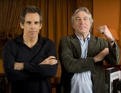 Seriously into it: Unlikely duo Ben Stiller and Robert De Niro reprise their roles as father and son-in-law in Little Fockers. The third movie in the Meet the Parents franchise opens Wednesday.