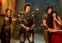 A funny fantasy: Natalie Portman, left, Danny McBride, James Franco and Zooey Deschanel star in Your Highness, which is scheduled to open on April 8.