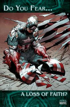 A promotional image for Marvel Comics' Fear Itself series, featuring Captain America.