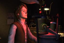 This is a still from the video game 'Back to the Future: The Game' which covers the continuing adventures of Marty McFly and Doc Brown from the films starring Michael J. Fox and Christopher Lloyd.