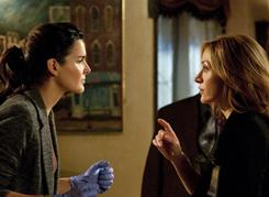 Crime-solvers: Rizzoli (Angie Harmon, left) and Isles (Sasha Alexander) on cable's top original series.