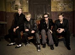 Members of the musical group Duran Duran, Simon LeBon, Nick Rhodes, John Taylor and Roger Taylor.