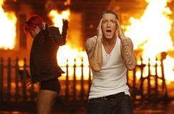 Rihanna and Eminem set the place on fire in the video Love the Way You Lie.