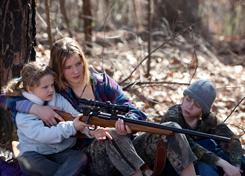 Taking aim: Ashlee Thompson, left, Jennifer Lawrence and Isaiah Stone in the critically acclaimed Winter's Bone.