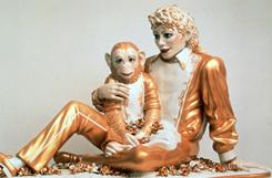 One of Jeff Koons' creations inludes this life-size sculpture of  Michael Jackson and his pet chimp, Bubbles.