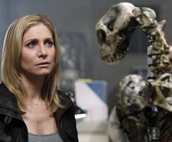 Elizabeth Mitchell, who plays FBI agent and resistance member Erica, comes face to face with a skeleton of a Visitor.