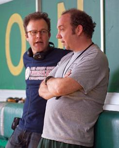 """They go way back: Win Win director Tom McCarthy, left, went to Yale with Paul Giamatti. """"He has incredible stamina, an incredible attitude, and it is just a lot of fun doing a movie like this together,"""" McCarthy says."""