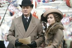 Colin Firth portrays King George VI in The King's Speech. He was nominated for best actor, and Helena Bonham Carter for best supporting actress.