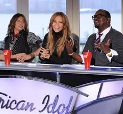 Idol triumvirate: Steven Tyler, Jennifer Lopez and Randy Jackson judge auditioners in New Jersey.