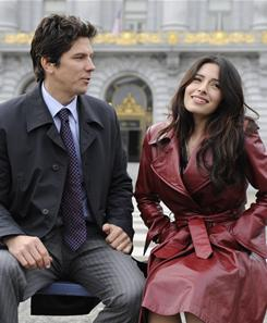Actress Sarah Shahi stars in Fairly Legal as Kate Reed, a lawyer-turned-mediator. Michael Trucco, left, co-stars as her ex-husband.