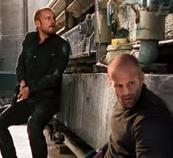 Steve McKenna (Ben Foster, left) and Arthur Bishop (Jason Statham) find they have something in common: their target.