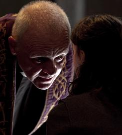 Made for each other: Anthony Hopkins plays Father Lucas, an exorcist for the Vatican, and Marta Gastini plays Rosaria, a teenager who is possessed.