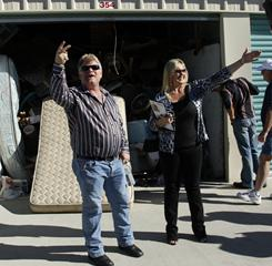 Storage stars: Auctioneers Dan and Laura Dotson sell off repossessed storage units on the A&E series Storage Wars. Fans come out as much to see the couple as to bid on goods hoping to find something valuable.