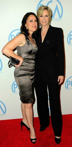 Jane Lynch and wife Lara Embry, pictured here at the Producer's Guild Awards on Jan. 22, told reporters at the Chateau Marmont that they have the red carpet routine down.