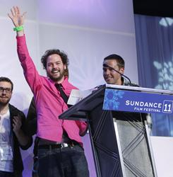 Director Drake Doremus accepts the Sundance Film Festival's Grand Jury Prizefor the film Like Crazy.