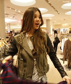 Just your typical Oscar-nominated teen:Hailee Steinfeld, 14, goes shopping at Forever 21 in the Beverly Center in Los Angeles. It's a far cry from her grimy, action-packed role in True Grit.