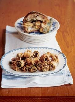 "Call a timeout for zucchini roll-ups, which are a ""great vegetarian option,"" says Lidia Bastianich."