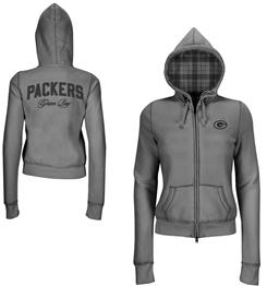 NFL Green Bay Packers women's sweatshirt with plaid lined hood, $74.99, QVC.com