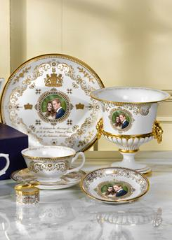 Diverse offerings: The Royal Worcester group of royal wedding commemorative items made of fine-bone china. The items range in price from about $20 to $525.