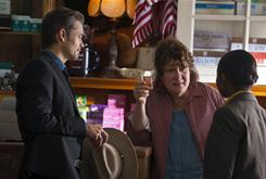 Wily Mags Bennett (Margo Martindale), center, has answers for U.S Marshals Raylan Givens (Timothy Olyphant) and Rachel Brooks (Erica Tazel).