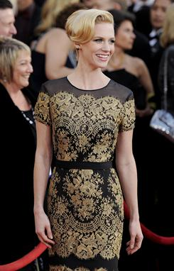 At the Screen Actors Guild Awards: January Jones' stylish beauty has been gracing red carpets this awards season, and it'll grace the big screen starting Feb. 18 in Unknown.