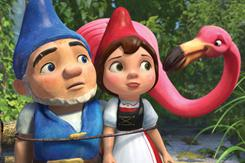 Stiff: Gnomeo (voice of James McAvoy), left, Juliet (Emily Blunt) and Featherstone (Jim Cummings).