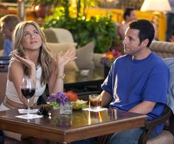 Relationship ruse: Jennifer Aniston pretends to be the ex-wife of her boss (Adam Sandler) to help him woo another woman.