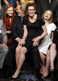 "Nicole Kidman, left, Jeff Bridges, Annette Bening and Amy Adams prepare for their ""class photo"" at the Academy Awards Nominees Luncheon on Feb. 7."