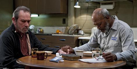 Last stop? Tommy Lee Jones, left, plays a suicidal college professor. Samuel L. Jackson plays a born-again ex-con who saves his life.