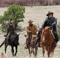 Hailee Steinfeld, left, Matt Damon and Jeff Bridges in the Coens' remake of True Grit. Steinfeld and Bridges are both nominated for Oscars.