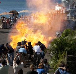 Having a blast: The Hawaii Five-0 camera crew films the explosion of a propane bomb in Honolulu for a scene that airs Monday (CBS, 10 p.m. ET/PT).