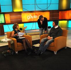On her OWN: Gayle King with stage manager Brad Hennessy, center, and guest Reichen Lehmkuhl of The Amazing Race.