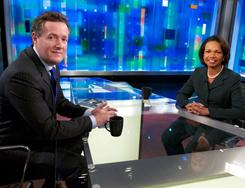 Not living up to Larry King: Piers Morgan interviews Condoleezza Rice.