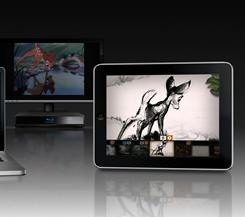 Second Screen: While Bambi on Blu-ray plays on a TV (in the background), the Second Screen feature syncs up with the movie and lets viewers access extras on computers or handhelds.