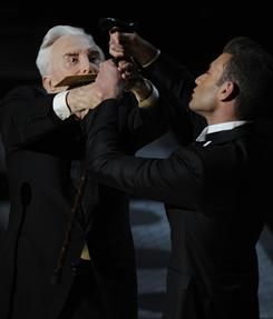 Hand over fist: Kirk Douglas does his best to keep the nominees for best supporting actress in suspense; he stalled multiple times before finally announcing the winner (Melissa Leo of The Fighter).