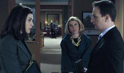 Contemporary story line: Julianna Margulies, left, Christine Baranski and Josh Charles are representing a Chinese dissident.
