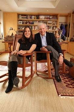 NBC newsman Tom Brokaw with his daughter Sarah, a therapist who overcame her own misgivings about growing older to write Fortytude.